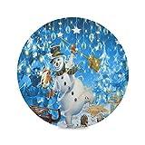 Juego de 1 manteles individuales redondos con forma de muñeco de nieve para Navidad, Año Nuevo, 15 p...