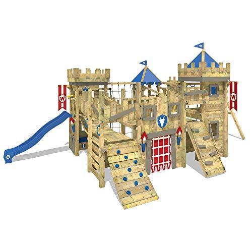 WICKEY Spielturm Kletterturm Prime The Golden Goat Kletterburg mit zwei blaue Rutschen, Doppelschaukel, Wackelbrücke, Feuerwehrstange und mehr