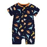 Baby Strampler Kinder Overall Roundhals Blau Jumpsuit Neugeborenes Spielanzug mit Reißverschluss Sommer Jungen Mädchen Kurzarm 3M-3Jahere (Dunkelblau, 9-12M)
