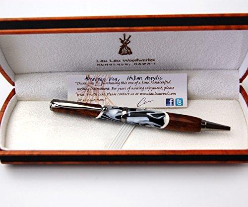 BreezyIslandコアウッドペン美く輝く貴重なハワイコアのデザイナーペンItalianacrylic-blk41D
