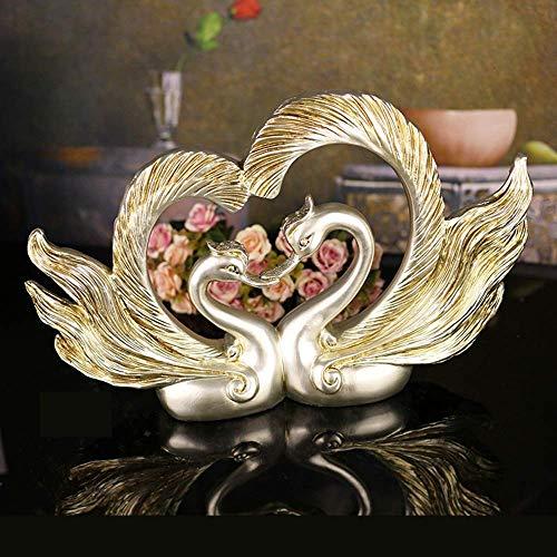 DSENIW QIDOFAN Crafts Harz Handwerk im europäischen Stil Haus Ornamente Swan Phoenix Federschmuck lieben Geschenke senden Die Heirat Kreative zu feiern (48 * 11 * 32cm) Stilvoll und schön