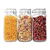 ComSaf Glass Storage Jars with Lids 2300ML Food Canisters Set of 3 - Airtight Clear Preserving Seal Wide Mouth Containers with Wire Clip Fastening for Kitchen Canning Cereal,Pasta,Sugar,Coffee,Spices