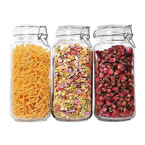 ComSaf Airtight Glass Canister Set of 3 with Lids 78oz Food Storage Jar Square - Storage Container with Clear Preserving Seal Wire Clip Fastening for Kitchen Canning Cereal,Pasta,Sugar,Beans,Spice