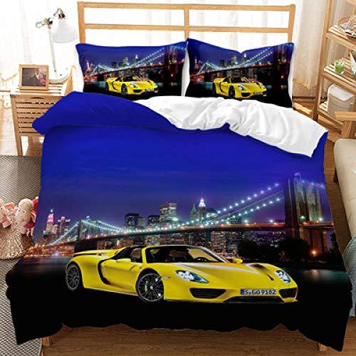 Meesovs® Sängklädesset gul superbil 3D-tryck påslakan 2 örngott 50 x 75 cm täcke sängkläder set med dragkedja 100 % mikrofiber singelsäng 135 x 200 cm 3D-tryck halloween sängkläder