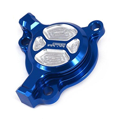 JFG RACING Couvre-filtre pour filtre à huile en aluminium - Yamaha YZ250F 2003-13 WR250F 2003-14 YZ450F 2003-09 WR450F 2003-15 - Bleu