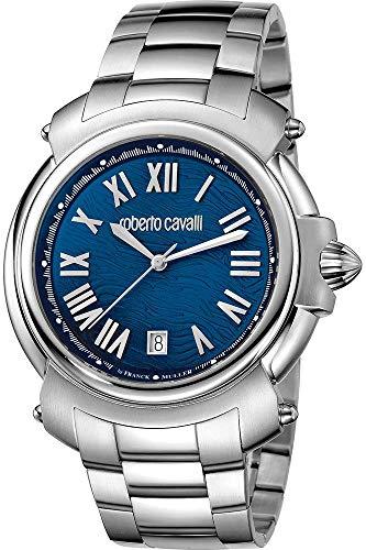 Roberto Cavalli By Franck Muller Reloj Fase Lunar para Hombre de Cuarzo con Correa en Acero Inoxidable RV1G005M0051