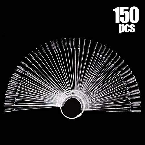 3 Set Total 150 Tips Clear Nail Swatches Sticks Nail Art Supplies for Nail Art Polish Display and Home DIY, Transparent