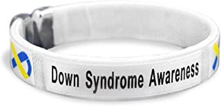 Fundraising For A Cause 25 Pack Down Syndrome Awareness Blue & Yellow Bangle Bracelets - Adult Size (25 Bracelets - Wholesale)