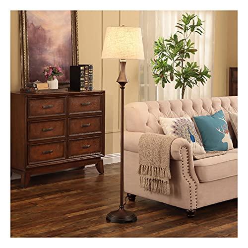 Indoor Traditionele vloerlamp voor woonkamer, retro led staande lamp met stof lampenkap, hoge poollamp voor studie…