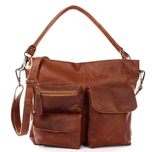 LECONI Schultertasche Ledertasche für Damen Vintage-Look echtes Leder Natur großer Shopper Lederhandtasche für DIN A4 Damentasche Frauen Handtasche 41x32x10cm braun LE0039-wax