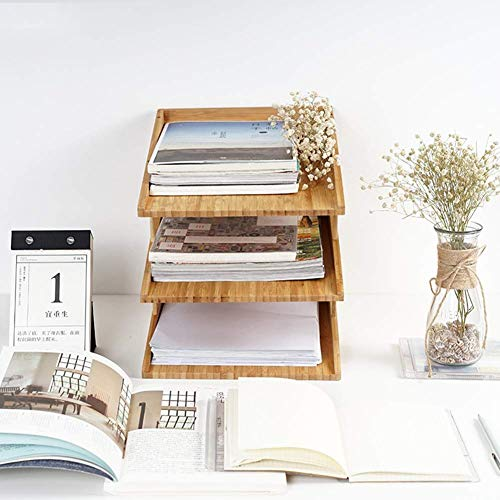 Revistero Estantes para archivos, Bandeja de documentos de escritorio de madera de estilo de 3 niveles, Estante para carpetas de archivos de oficina, Estante para revistas, Organizador de archivos de