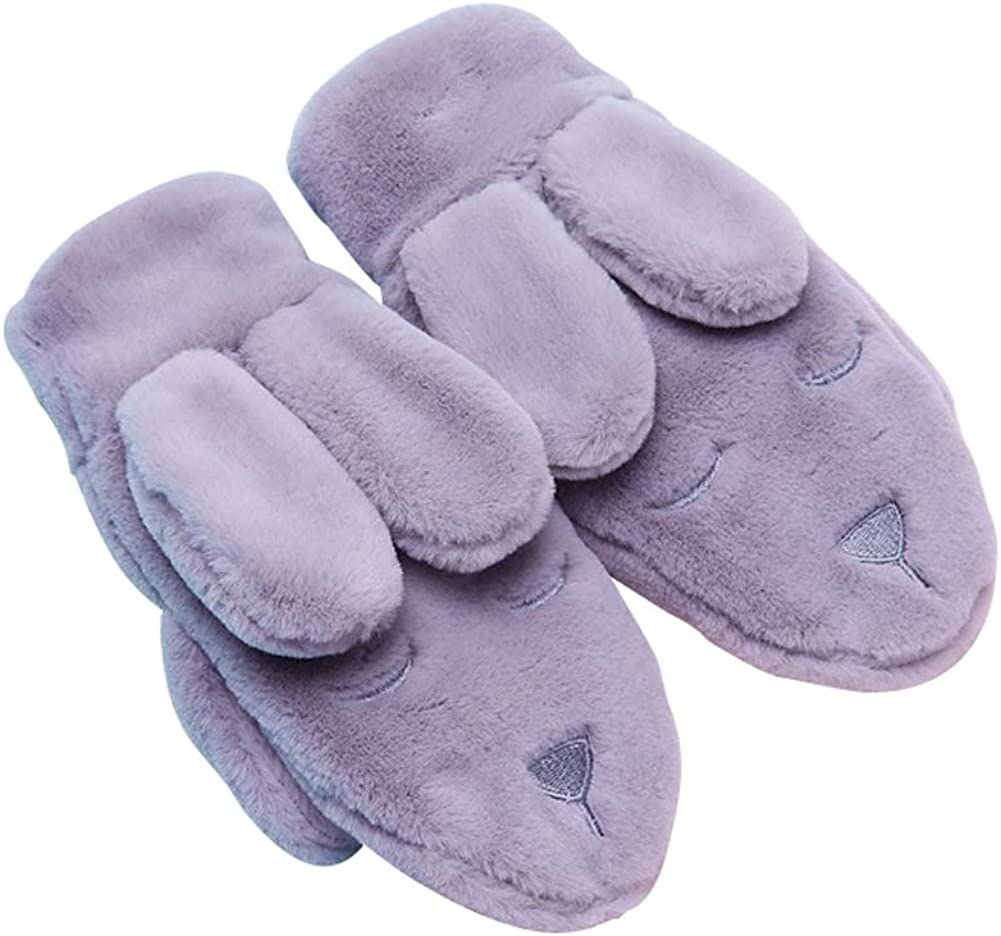 Women Winter Gloves Cute Cartoon Rabbit Warm Mittens Thick Soft Faux Fur Gloves with Fleece Lined