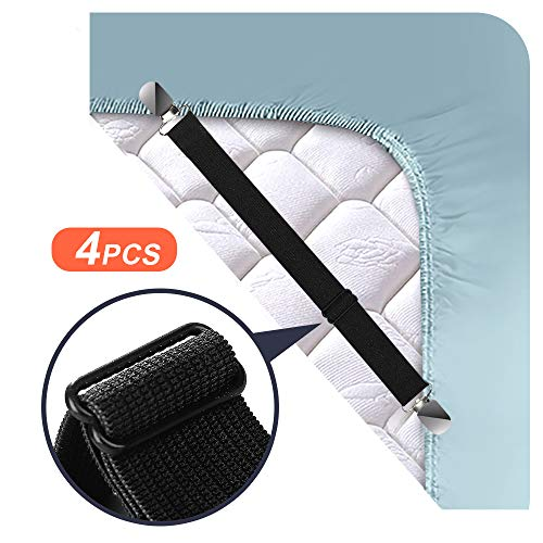 Tcowoy 4 PCS Adjustable Bed Sheet Holders Mattress Sheets GrippersElastic Sheet Band Straps ClipsCover Grippers Suspenders Holder for Flat Sheets Fitted SheetsSofa CushionBlack