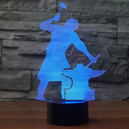 3D Nachtlicht Led Farbwechsel Licht Design Gebaut Eisen Form Touch Schalter 7 Farbe Tischlampe Kind Oder Heimtextilien Unterstützung Usb