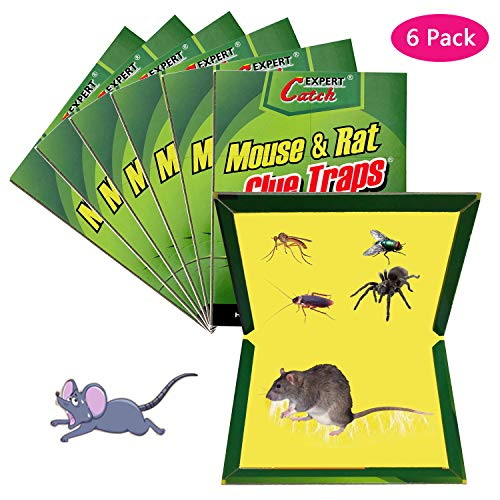 Mouse Trap, Rat/Mice/Mouse Glue Traps, Rat Traps Sticky Boards, New Version Strongly Adhesive, Mouse Traps That Work Capturing Indoor and Outdoor Rat Cockroach Ant Spider (6 Pack)