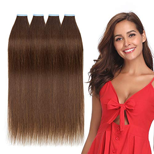 Rich Choices 60cm Extension Adesive Capelli Veri 40 Fasce Tape in Remy Hair Extension Capelli Naturali Biadesivi 100g/set, 4 Marrone Cioccolato