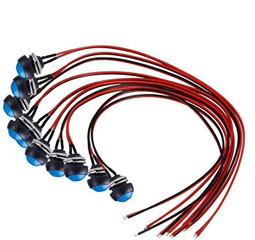 Donjon Interruptor de presión para Momentáneo (con alambre de 20 AWG), Mini impermeable pulsador botón SPST ON/OFF para coche, PC, lámpara de mesa (10 unidades)