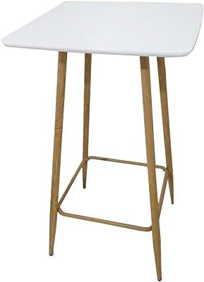 PEGANE Table Mange Debout en métal et Acier, Blanche - Dim : 60 x 60 x 102 cm