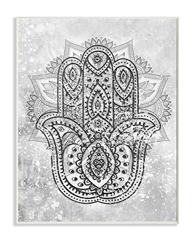 Stupell Industries Hamsa Hand Symbol Intricate Pattern Black Grey, Design by Daphne Polselli Wandschild, grau, 13x19