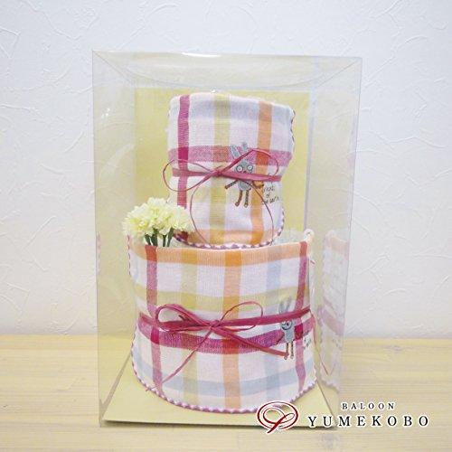 今治コンテックス製スタイとハンカチ付き おむつケーキ デュオ2段 ピンク (W20×H30×D20cm) o-339206