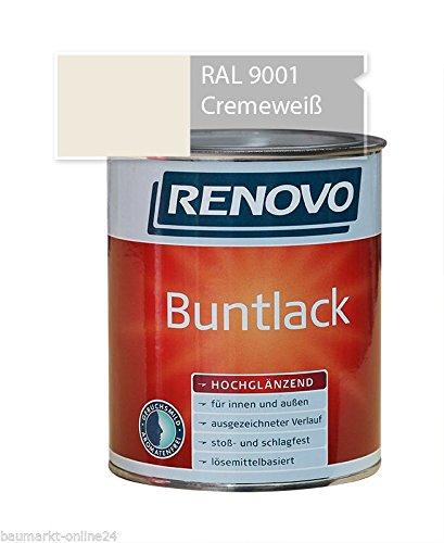 Buntlack 375 ml RAL 9001 Cremeweiß Hochglänzend Farbe Lacke Renovo