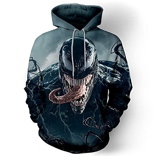 GJZhuan Niños Vengadores Venom Hoodies Hombre Halloween Chándal Otoño Sudadera Película Jumper Suéter Superhéroe Cosplay Disfraz Novedad Pullover Ropa,Black-Adults/L