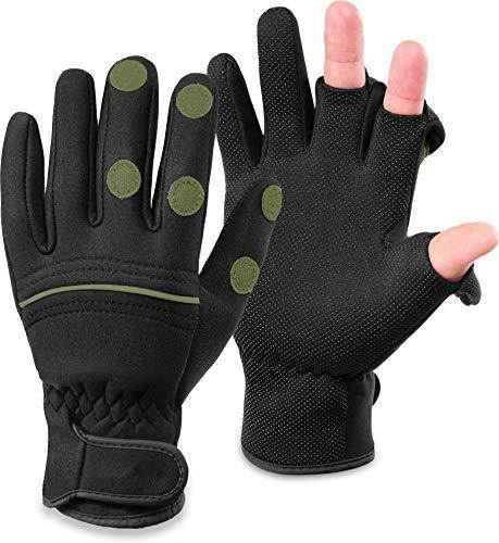 normani Wasser- und Winddichte Angel Handschuhe Winterhandschuhe Fishingsports Anglerhandschuhe 2,5 mm Titanium-Neopren Farbe Schwarz/Oliv Größe L