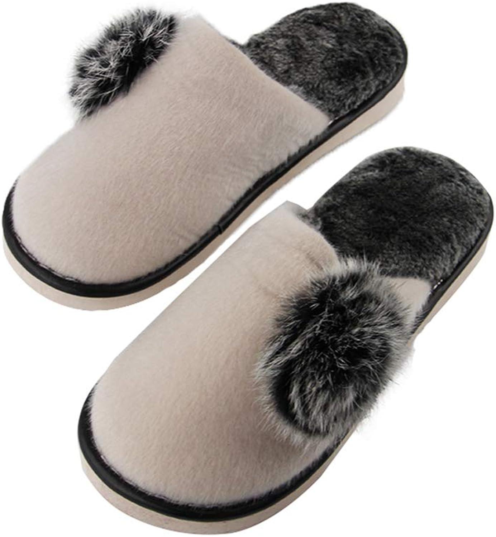 NOMIMAS Women's Warm Slippers Thicken Plush Anti Slip Pompon Fuzz Ball Decorate Indoor Ladies Footwear