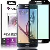 NALIA Pantalla Cristal Templado Maxima Proteccion Glass Screen Protector Cobertura Completa Compatible con Samsung Galaxy S6 Smartphone - Transparente (Negro)