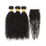 Huarisi Kinky Curly Bundles With Closure Brazilian Virgin Hair...