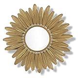 LDJ Métal Miroir Mural Soleil en Forme de Fleur d'or Accents décoratifs Mirror Hôtel Bathroom Wall Mirror 37.5' Miroir Pleine Longueur