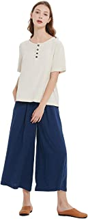 Sellse Women's Linen Cotton Casual Large Size Pants Plus Size Pant With Band Waist