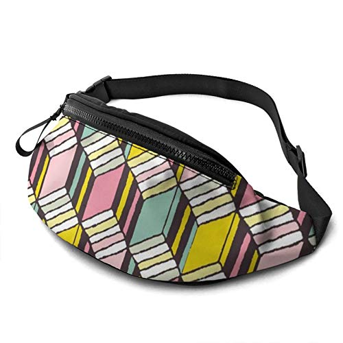 Gkf Waist Pack Bag for Men&Women, Cube Pattern Utility Hip Pack Bag with Adjustable Strap for Workout Traveling Casual Running
