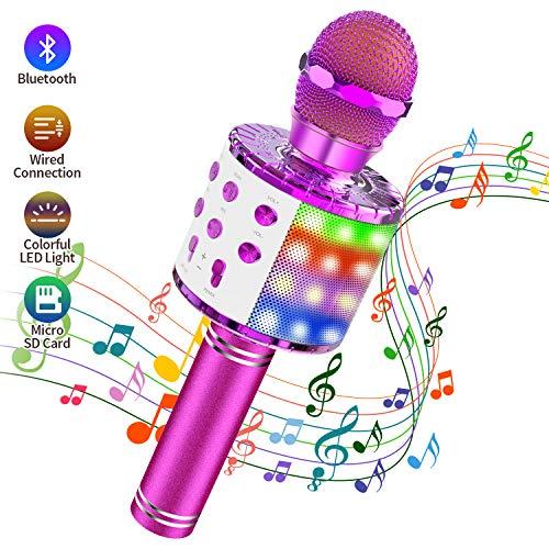 Micrófono Karaoke Bluetooth, Teaisiy Microfono Inalámbrico Portátil con Altavoz y Luces LED para Niños para Hogar KTV, Canta, Partido, Musica, Compatible con Android/iOS/Ipad/PC (Violado)