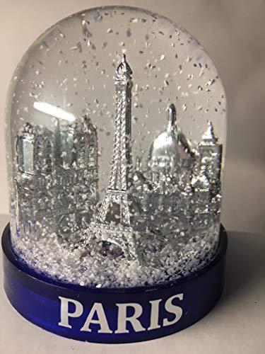VIANAYA Schneekugel Eiffelturm und andere Denkmäler Paris – mittlere Größe 10 cm – Sockel Marineblau aus hochwertigem Kunststoff – Kugel mit goldenen Sehenswürdigkeiten – klassischer weißer Schnee