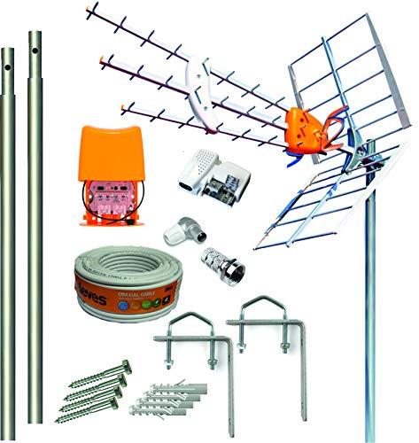 Kit Antena Televes 5G + Amplificador y Fuente + 2 Mástiles 1.5m + Garras + Conexiones + 20m Cable Televes