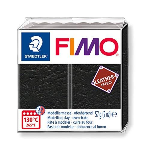 Staedtler FIMO Leather, Pâte à modeler noire à effet cuir durcissant au four, Pour débutants et artistes, Pain de 57 grammes, 8010-909 ST