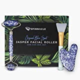 Natural Jade Roller & Gua Sha Set | Premium 3-in-1 Blue Spot Gemstone Beauty Tools | New Improved Stainless Steel Frame with Noiseless Design | Anti-Aging Jade Roller For Face, Neck, Eyes and Body