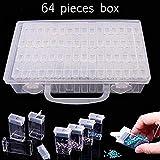 MOGOI Boîte à Broderie Diamant Transparent 64 Grilles, Boîte de Rangement avec 64 Mini Compartiments Grille...