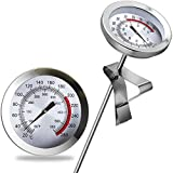 Oil Thermometer for Deep Frying, Cooking thermometer, 230mm Stainless Steel Deep Frying Thermometer with Metal Retaining Clip for Cooking Oil Deep Frying Fry BBQ Grill No need battery