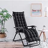 Lataw Patio Chaise Lounger Cushion, Indoor/Outdoor Patio Chaise Lounger Cushion Rocking Chair Sofa Cushion Tatami Mat Window Seat Mattress Lounger Cushions Covers (US Stock) (Black)