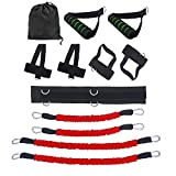 Resistance Bands Stretching Strap Set,Exercises Leg Waist and Arm with 4 Resistance Bands, Adjustable Waist Belt, Ankle Cuff, Bag for Boxing,MMA,Home Gym,Bouncing Strength Training Equipment (Red)