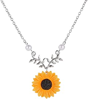 Festnight Sunflower Leaf Branch Necklace Girls Charm Gold Plated Twig Pendant Necklaces Women Jewelry Accessory Gift