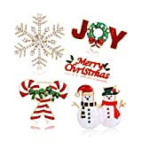 Christmas Brooch Pins Snowflake Pin Marry Christmas Joy Candy Cane Snowman Brooches Xmas Christmas Holiday Party Gifts for Women Girls Kids