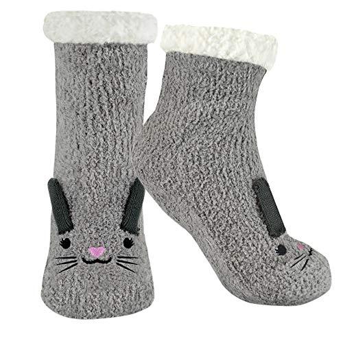 DINZIO Damen Hausschuhe/Socken, 3D, Tierfutter, Grau - hase - Größe: Einheitsgröße