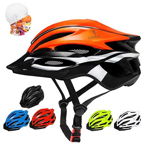 ioutdoor Casco da Bici Premium, Certificato CE CPSC, Casco da Bici con Visiera Solare Rimovibile e Rete per Insetti, Casco da Bici Regolabile Super Leggero per Sport All'aperto (Arancione)