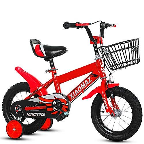 Mediawave Store - Bicicletta per bambini Magic taglia 14 con cestino età 4-6 anni con rotelle che si montano e smontano, Sella regolabile, Freni a tamburo posteriori (Rossa)