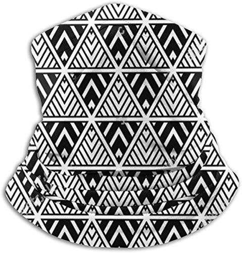 Unisex Color negro Enrejado Raya Triángulo Sin costura Invierno Fleece Cuello Calentador Polainas Banda para el cabello Tubo para clima frío Mascarilla Térmica Cuello Bufanda Al aire libre Protección UV Cubierta del partido
