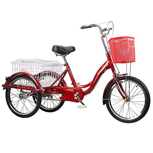 Triciclo per Adulti con Cestino,3 Ruedas, para Adultos Y Personas Mayores,Respetuoso con El Medio Ambiente Y Económico (Color : Medium Red)
