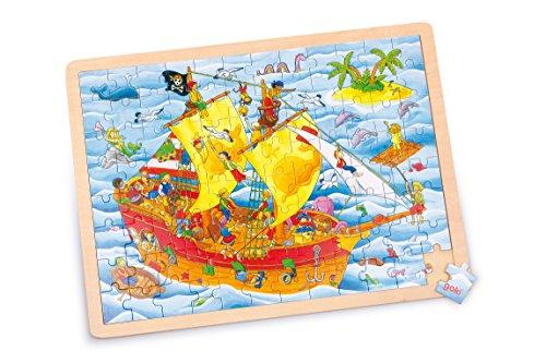 Goki 57831 - Puzzle de madera Barco Pirata (96 piezas)
